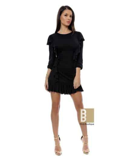 rochie neagra, rochie neagra cu volane, rochie cu volane, rochie de zi, rochie de ocazie, rochie de seara