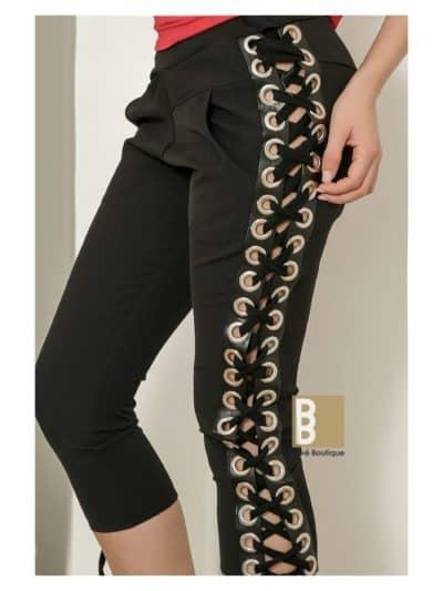 Pantaloni trei sfert cu snur