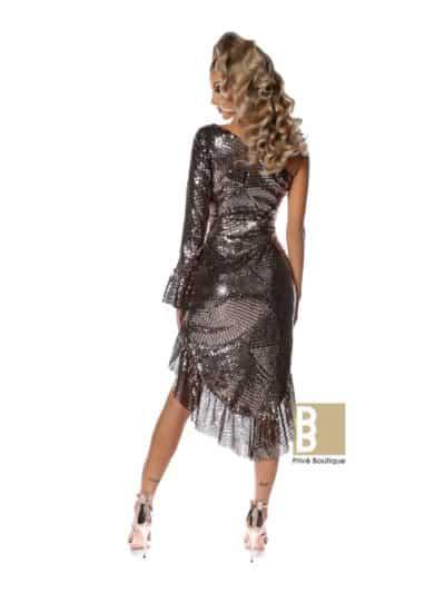 rochie bronz, rochie paiete, rochie asimetrica, rochie asimetrica paiete, rochie sexy