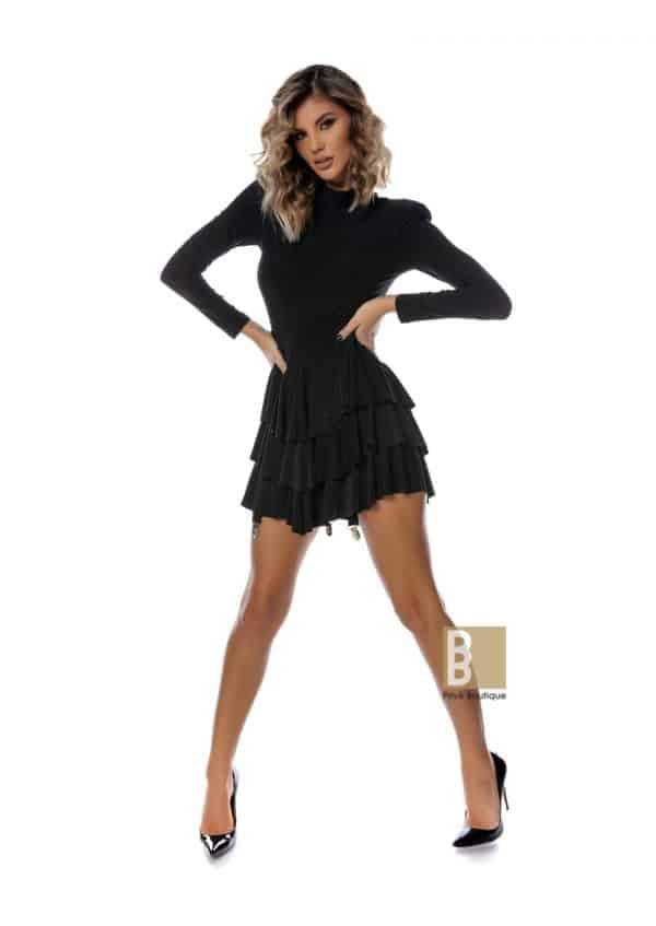 rochie cu volane si pojartier, rochie cu volane, rochie cu pojartier, rochie neagra, rochie scurta, rochie volane