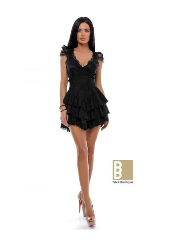 rochie dantela cu volane, rochie neagra, rochie dantela, rochie cu volane, rochie sexy, rochie de club, rochie de seara