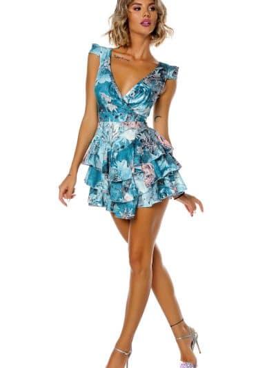 rochie nature, rochie imprimata, rochie imprimeu, rochie scurta, rochie cu volane, rochie sexy, rochie de zi