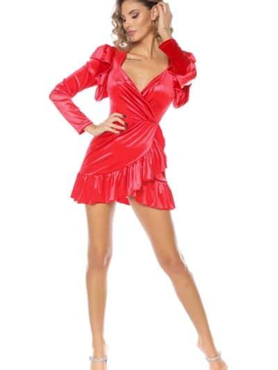 rochii sarbatori, rochii catifea, rochie catifea, rochie sexy, rochie decoltata, rochie cu volane, rochie neagra, rochie rosie